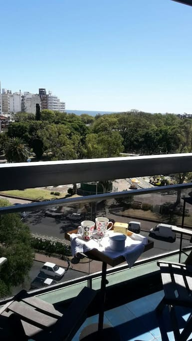 Balcony with Park and Sea View