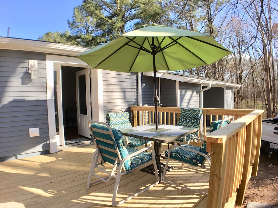 Private deck with gas grill.