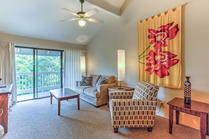 Side B - living area with comfy seating and access to lanai.