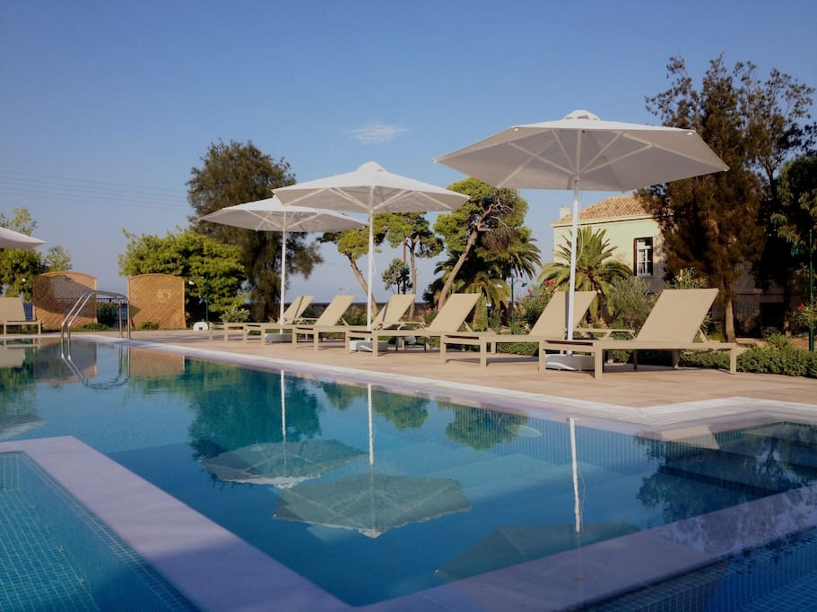 The swimming pool, with a view to the sea