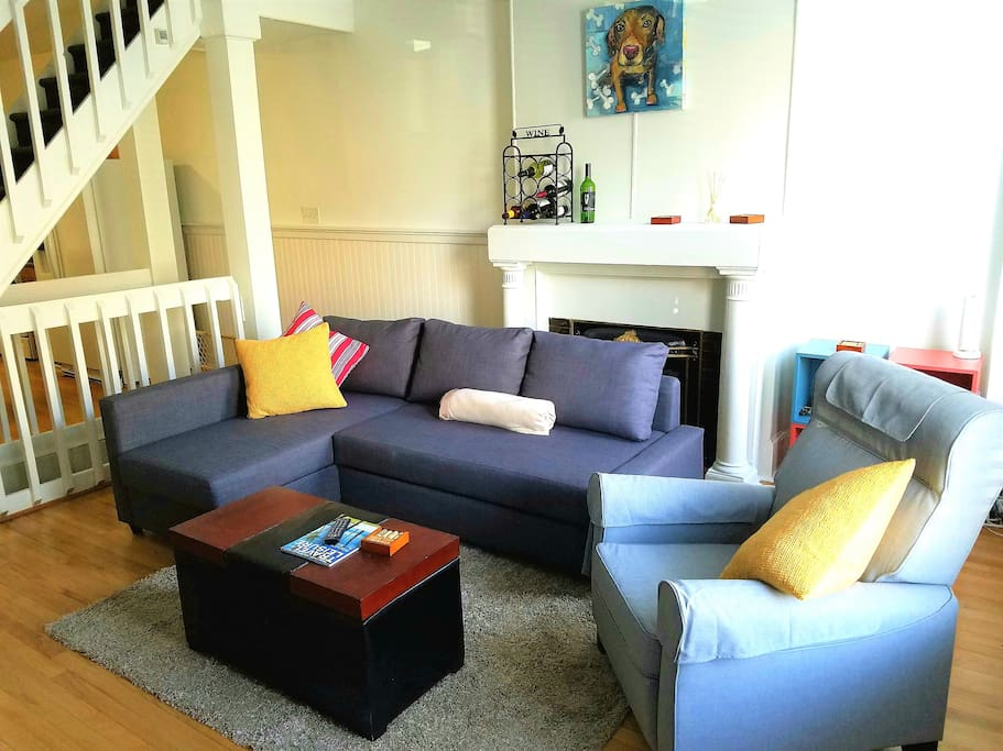 Living Room with sofa that pulls out to queen size bed.