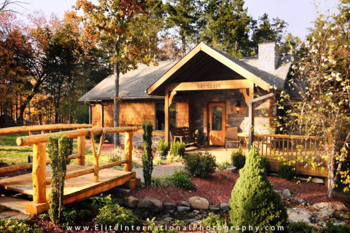 Beautiful landscaping surrounds your Luxury Cabin, complete with its own running brook.