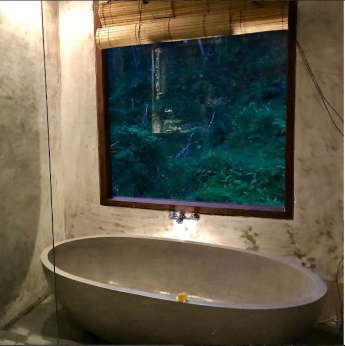 soaking in the hot bathtub while enjoy the nature performance