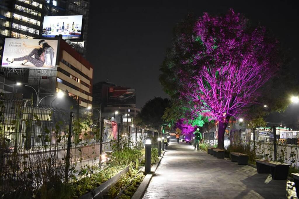 Se encuentra en la CDMX sobre un parque lineal que cuenta con áreas verdes, barandales, y un humedal con jardineras.