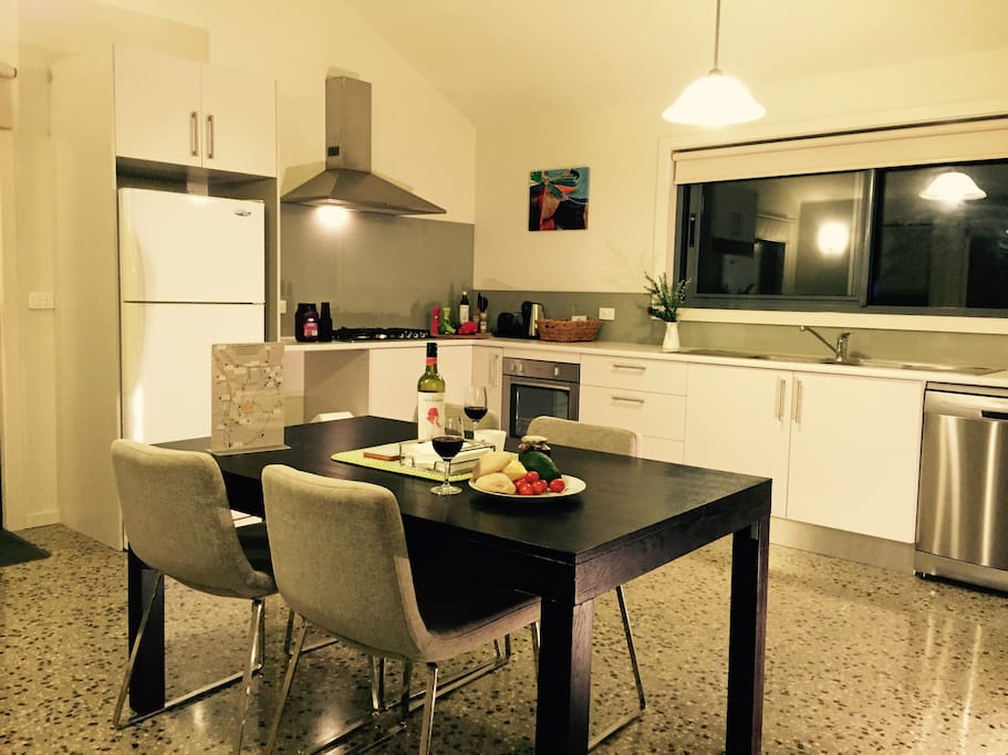Large cooking and dining space. Full sized-appliances.