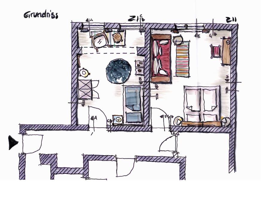 Grundrisse Wohnzimmer