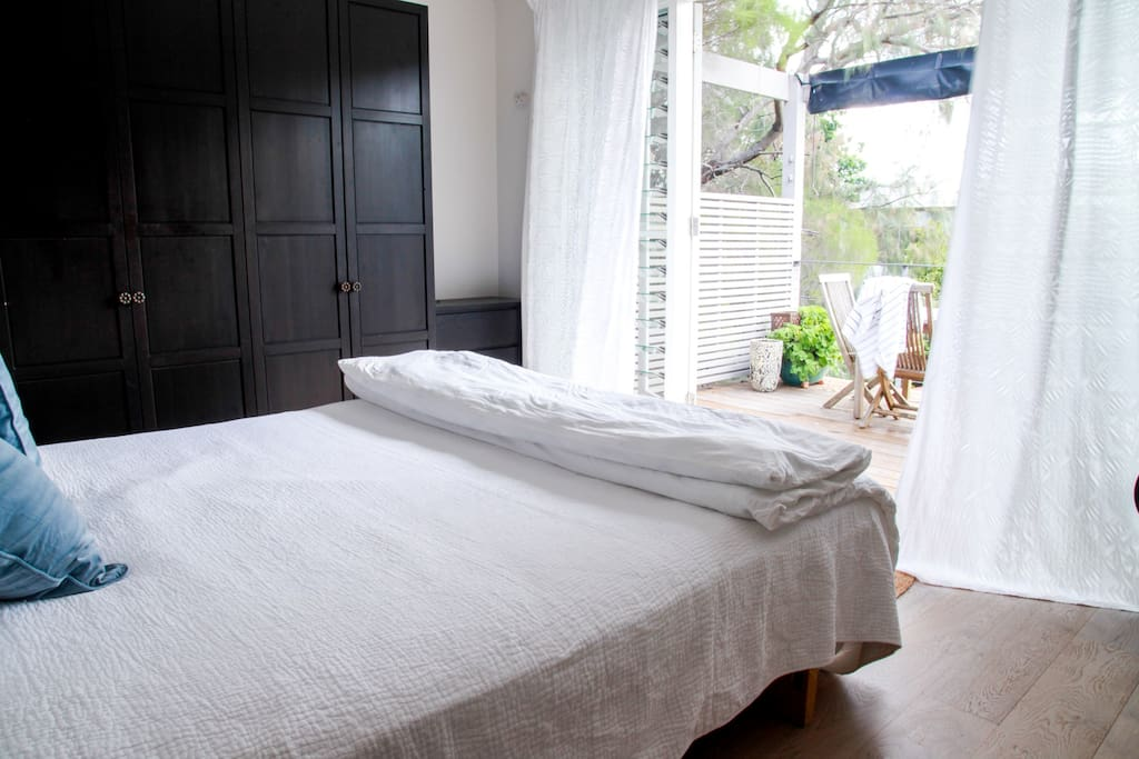 Generous storage and beautiful bedding