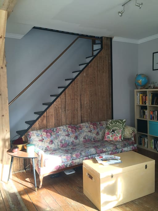 The front room is a nice sunny spot to read a book in the afternoon.