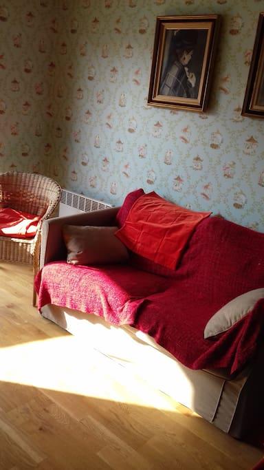Dans le salon, un canapé-lit peut accueillir une troisième personne