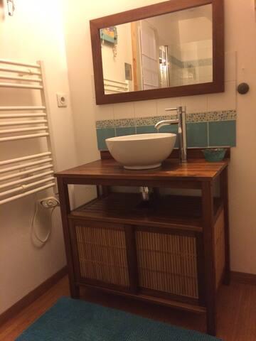 salle de bain de la chambre bleue avec un accès direct