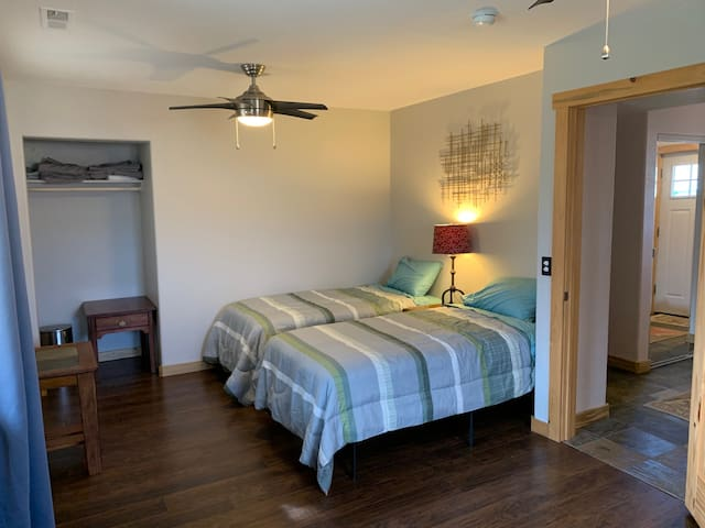 Large ground floor suite with two twin beds and fold out couch.