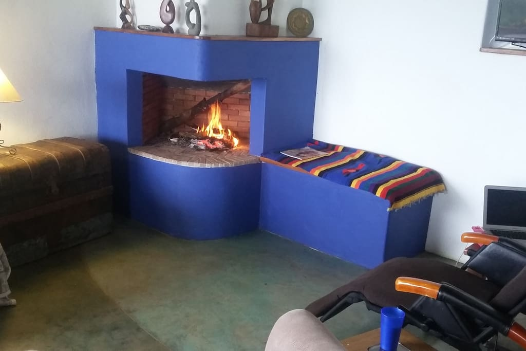 Fireplace for cool nights, wood included.  Not really necessary most nights, but nice .
