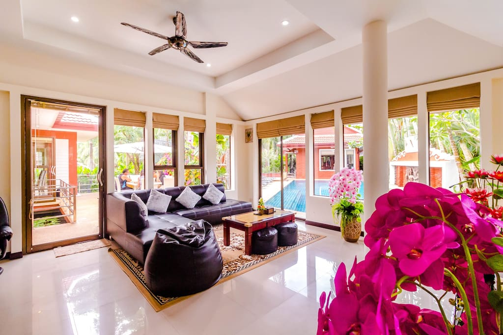 The living area overlooking the pool