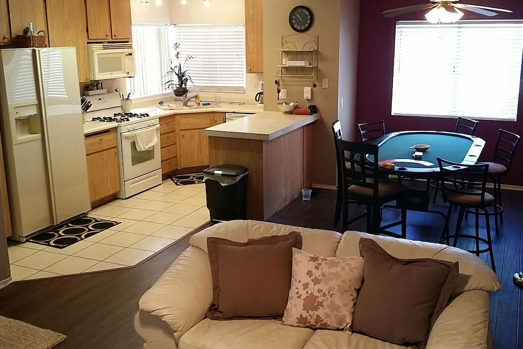 kitchen with keurig, coffee maker, coffee, fun poker table