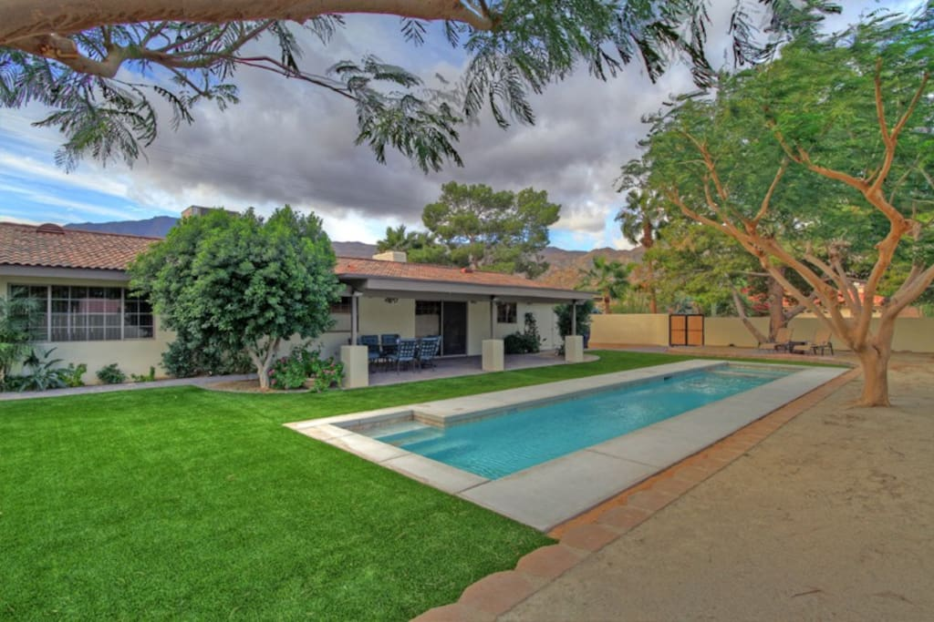 Great backyard space with lap pool and desert landscape.