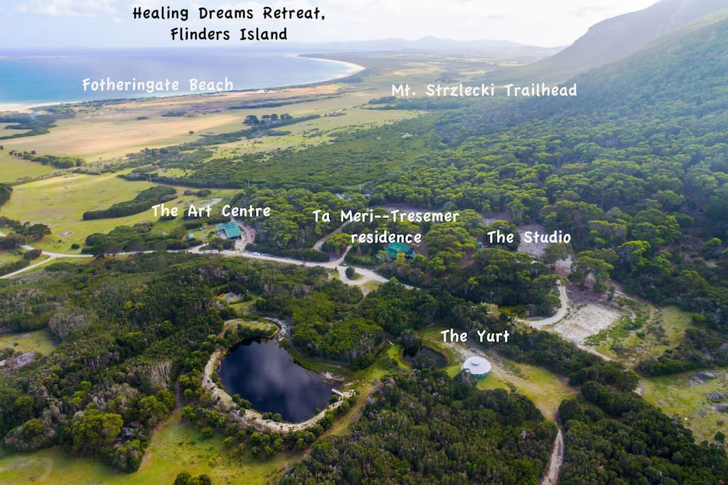 Overview of the landscape of Healing Dreams--Art Centre, The Studio and The Yurt.