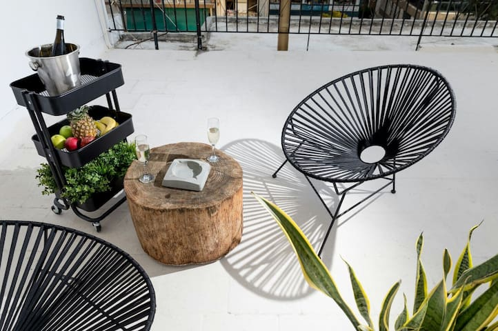 Terrace with modern furniture