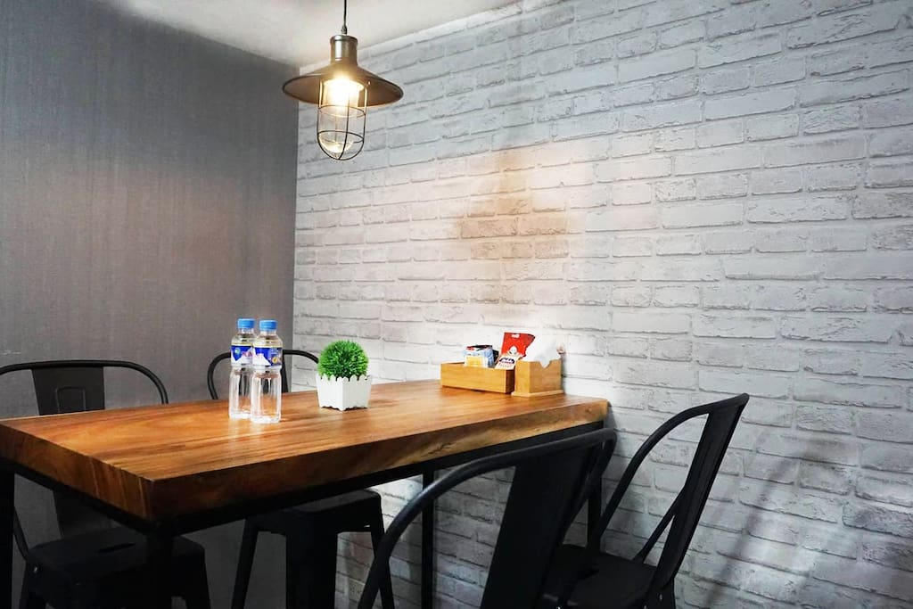 Dining area: Furnished with bar table and bar stools
