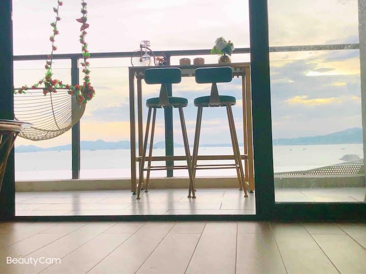 巽寮湾屿海如意居&一线海景无遮挡,时尚新潮风格,网红秋千情侣大床房