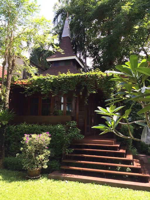 Thai wooden house in the garden
