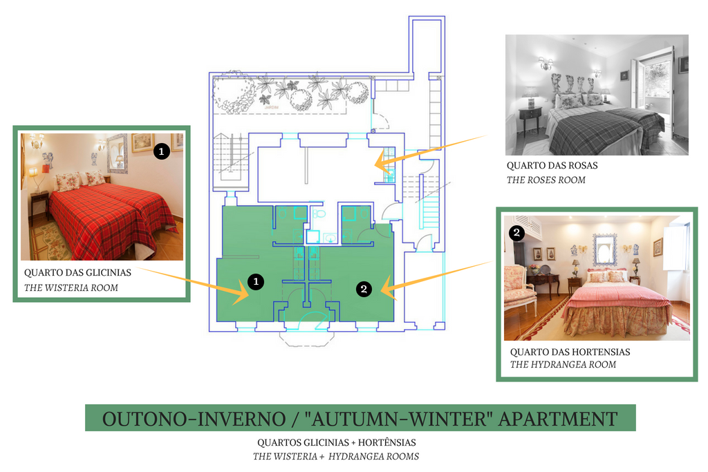 Book the Aut/Winter Apartment and get two two apartments: The Hydragenea Room (Double Bed) + The Wisteria Room (Twin bed)  two apartments at a discount price.
