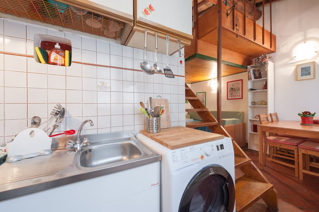 Kitchen with the washing machine (only for the guests who stays for more then 3 nights)