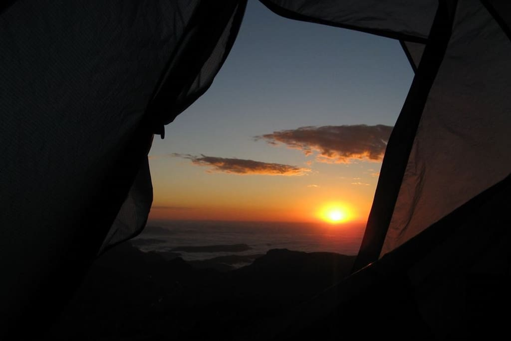 Look a beautiful Sunrice from a tent