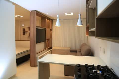 Flat de luxo, mobiliado, localização privilegiada