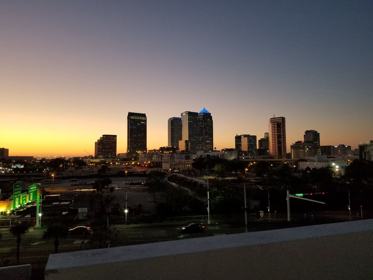 View of downtown Tampa from pool area