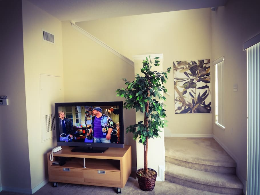 Family room with large HDTV