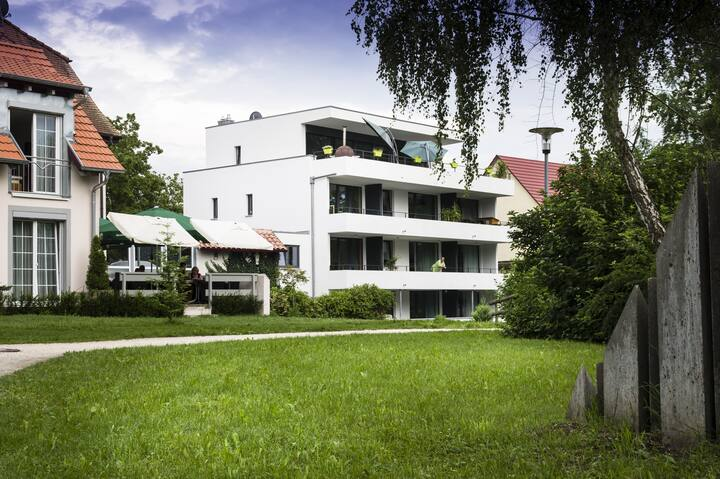 "Modern Apartment 6 in Apartment House ""Aach Apart"" in Quiet Area near Lake Constance with Wi-Fi & Balcony; Parking Available"