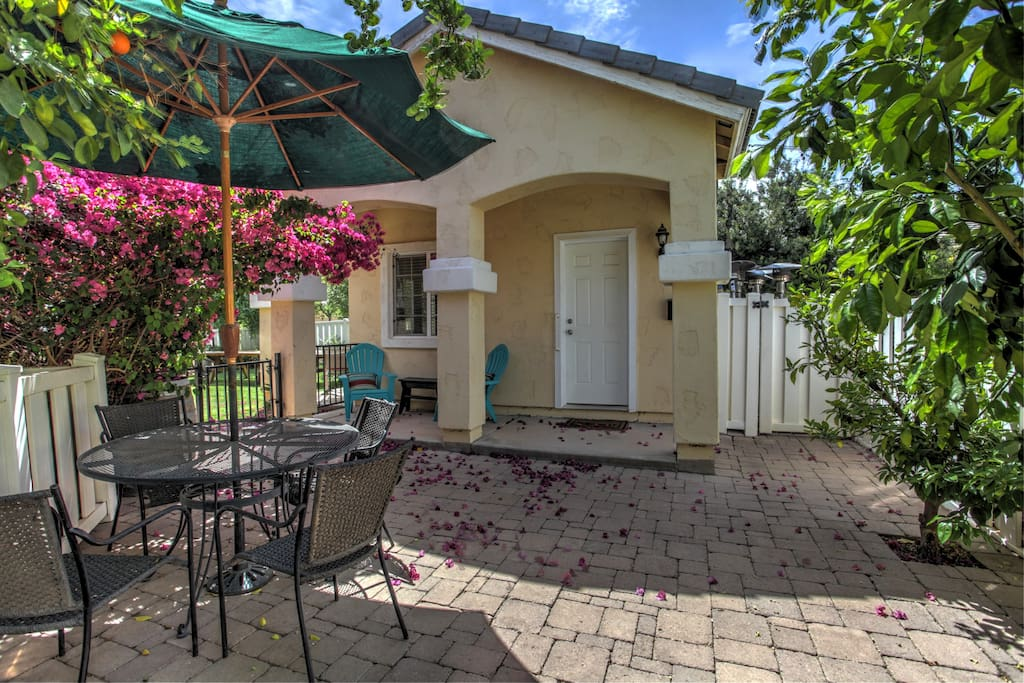 Wonderful guest cottage nestled in our lush backyard. Three patios throughout the yard to sit and relax.