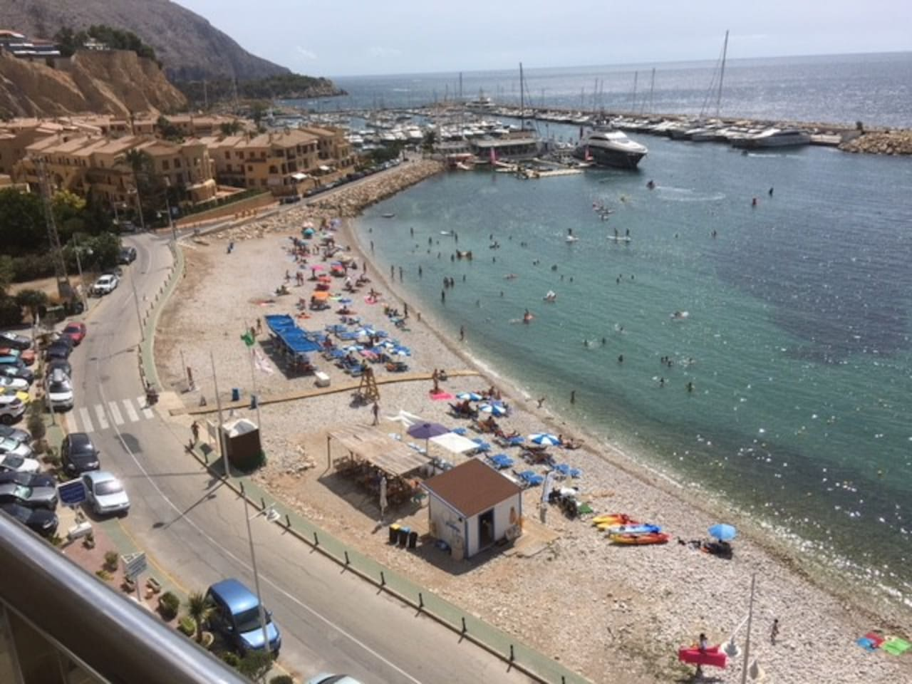 The fabulous balcony view of Mascarat beach and water sports, during the summer months.