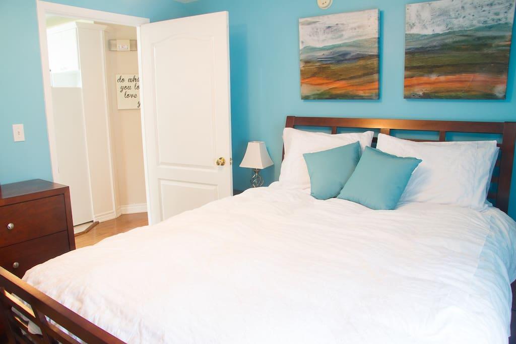 Queen bedroom with air