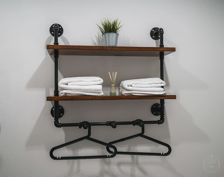 Shelf, towel and clothe hangers for 2B Private Double Bed