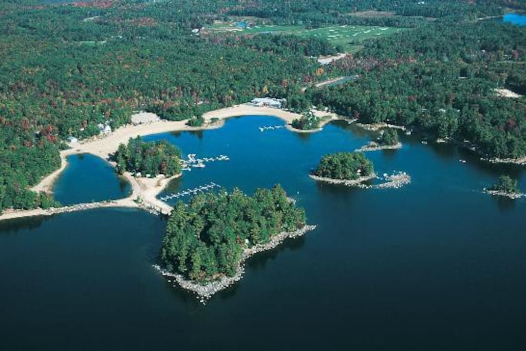 Aerial view of point sebago