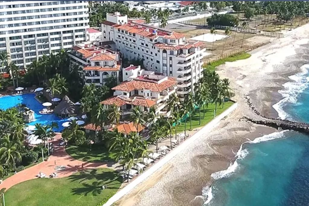 Aerial View of Resort by Beach