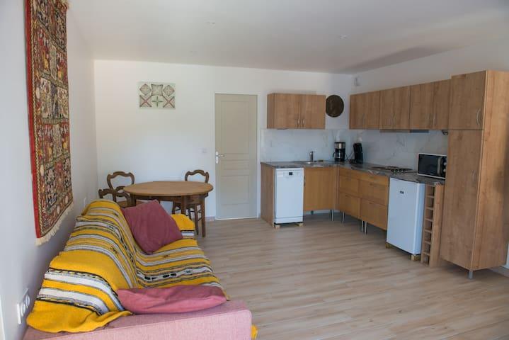 Living & kitchen avec canapé convertible