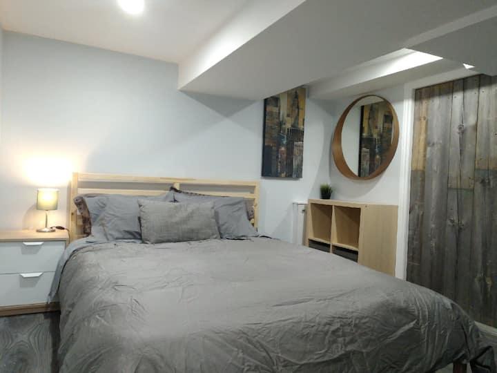 Modern Queen Basement Bedroom in Century Home
