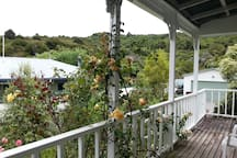 View from front deck of Victoria Domain with walking and mountain biking tracks and wonder scenic views over the Marlborough sounds