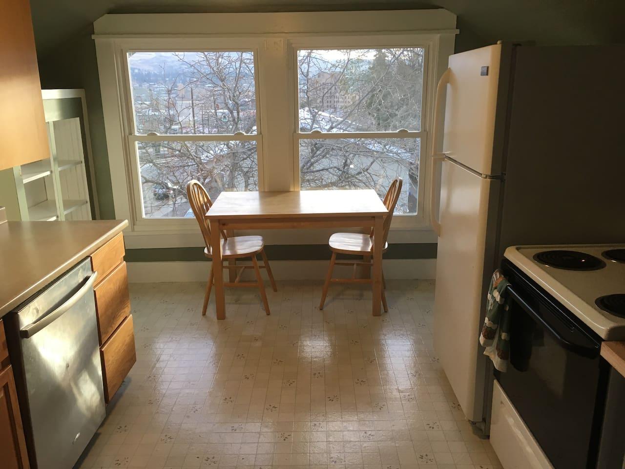 Kitchen w view of hills east of Wenatchee