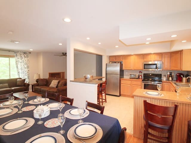 Dining, kitchen and living area