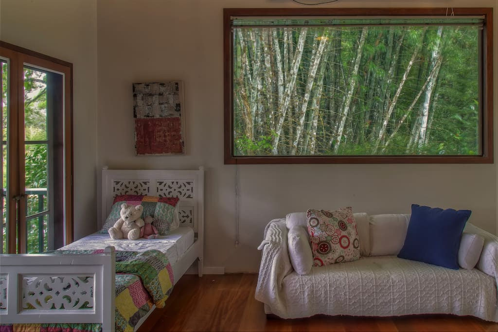 The large window in your room is a living piece of art, the movement and sounds of the bamboo are mesmerizing