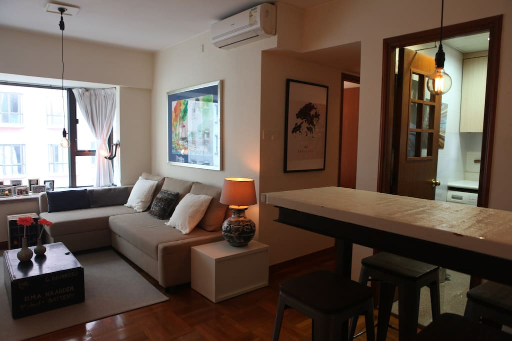 Bar area and living room.