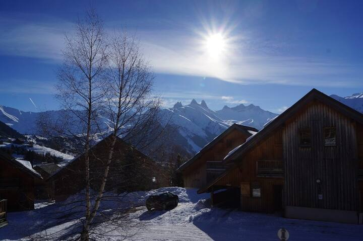 Apartment in chalet close to ski slopes and school