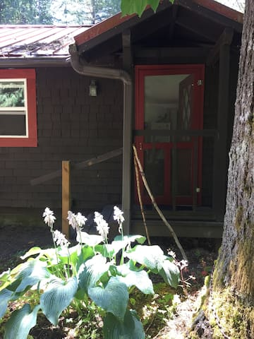 The back of the guesthouse has a separate entrance that leads directly to the park area, and down to the trail to the Salmon River. Walking sticks for your forest walk!