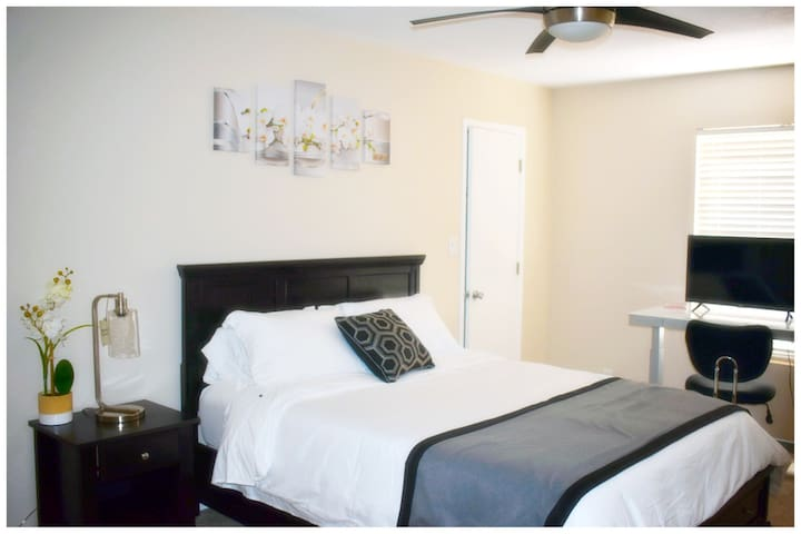 Queen Bed with walk in closet and office sit/stand workstation Smart  TV/monitor and printer.