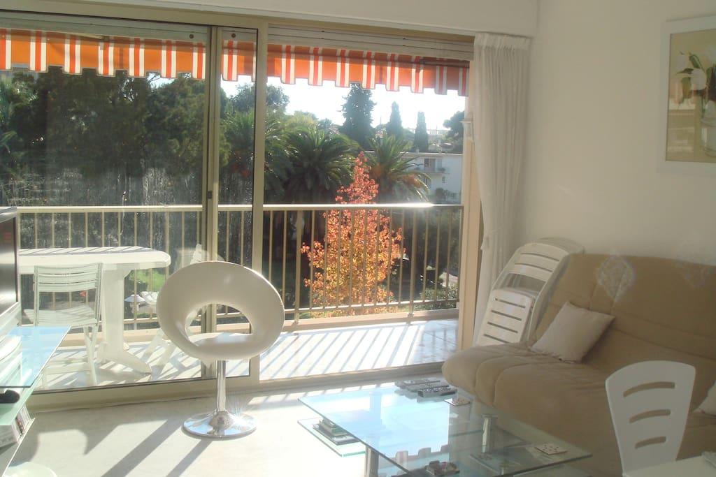 Lounge opens out onto balcony
