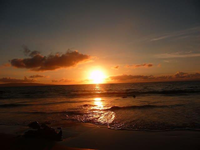 Enjoy beautiful sunsets every night, accross the street at Kamaole II Beach!