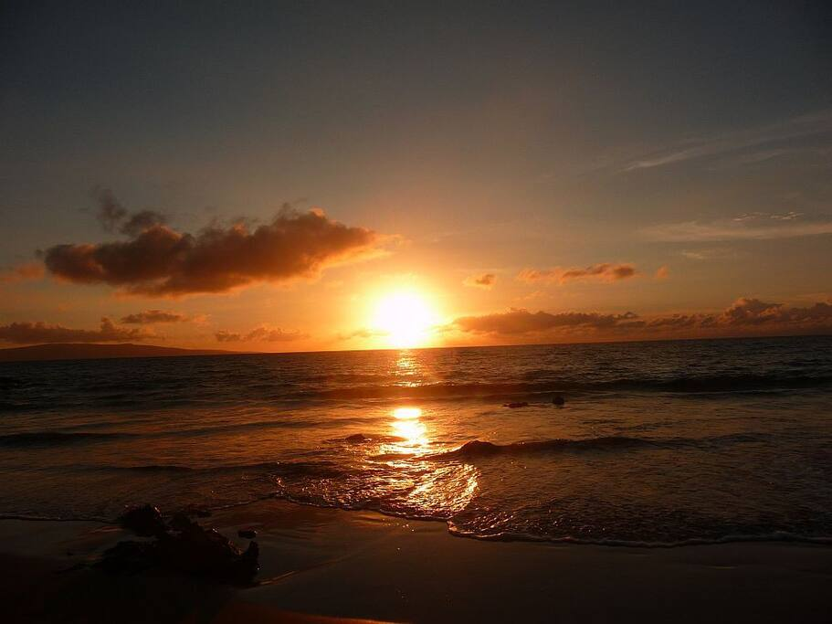 Enjoy beautiful sunsets every night, accross the street at Kamaole II Beach!
